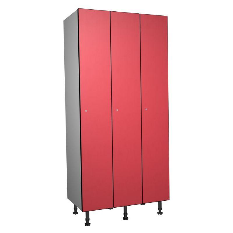 Taquillea - Casier Phénolique, 1 Porte 3 Colonnes, 905x1800x500 mm, Serrure À clé Rouge