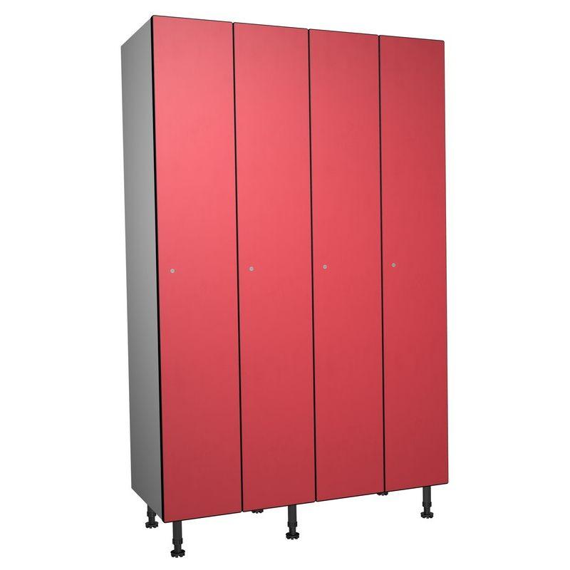 Taquillea - Casier Phénolique, 1 Porte 4 Colonnes, 1200x1800x500 mm, Serrure À clé Rouge