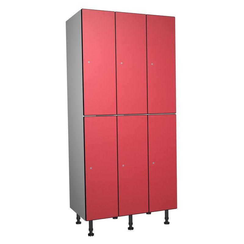Taquillea - Casier Phénolique, 2 Portes 3 Colonnes, 905x1800x500 mm, Serrure À clé Rouge