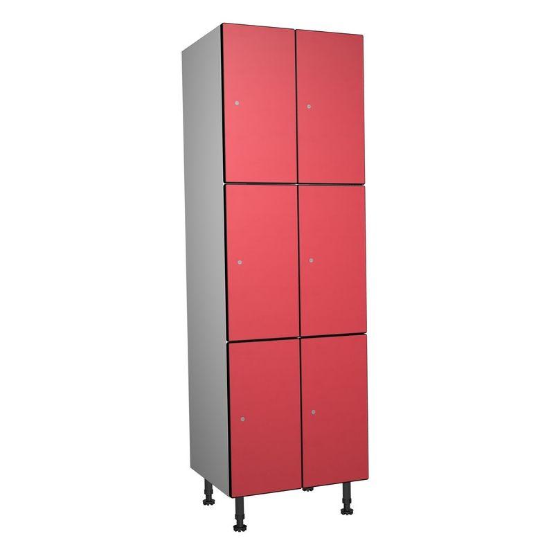 Taquillea - Casier Phénolique, 3 Portes 2 Colonnes, 612x1800x500 mm, Serrure À clé Rouge