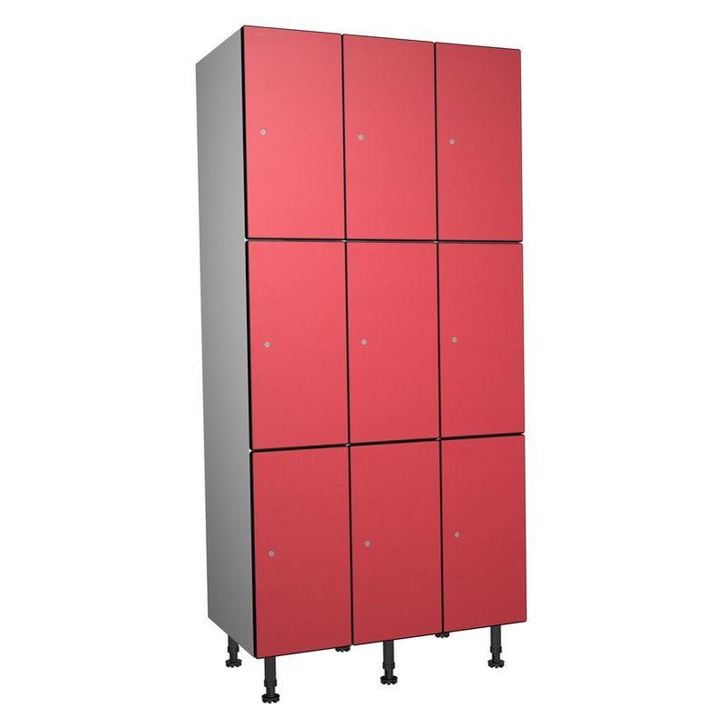 Taquillea - Casier Phénolique, 3 Portes 3 Colonnes, 905x1800x500 mm, Serrure À clé Rouge