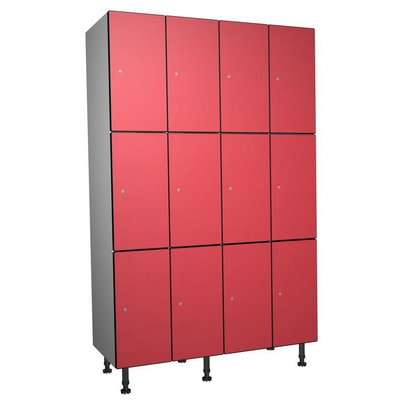 Taquillea - Casier Phénolique, 3 Portes 4 Colonnes, 1200x1800x500 mm, Serrure À clé Rouge