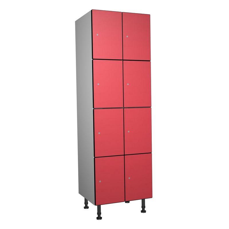 Taquillea - Casier Phénolique, 4 Portes 2 Colonnes, 612x1800x500 mm, Serrure À clé Rouge