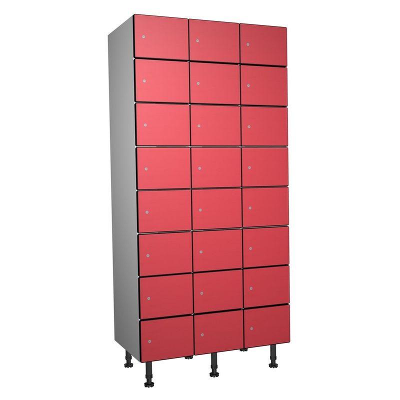Taquillea - Casier Phénolique, 8 Portes 3 Colonnes, 905x1800x500 mm, Serrure À clé Rouge
