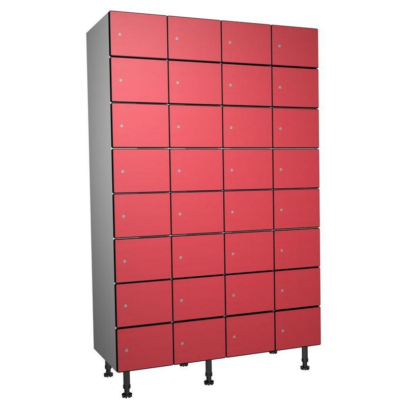 Taquillea - Casier Phénolique, 8 Portes 4 Colonnes, 1200x1800x500 mm, Serrure À clé Rouge