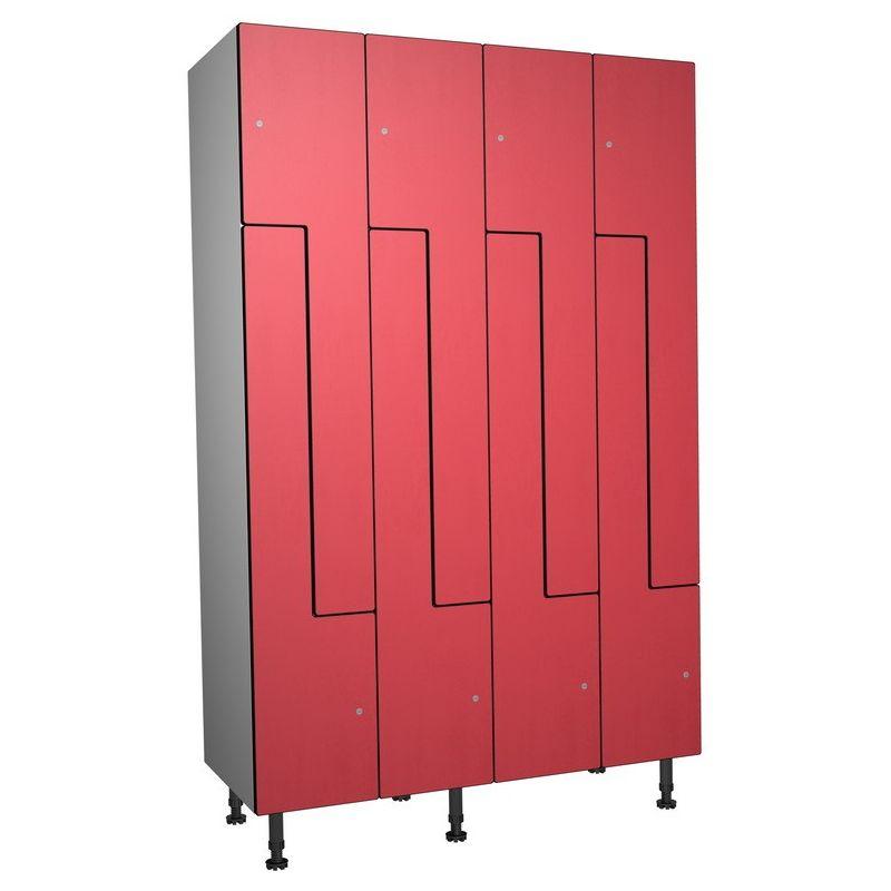 Taquillea - Casier Phénolique, 8 Portes Z, 1200x1800x500 mm, Serrure À clé Rouge