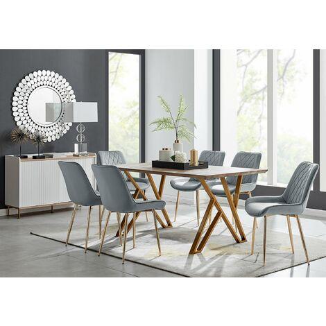 "main image of ""Taranto Oak Effect Dining Table and 6 Pesaro Gold Leg Chairs"""