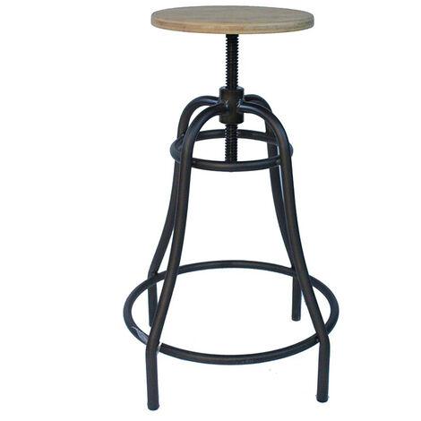 Tarapo Industrial Adjustable Bar Stool - Beige