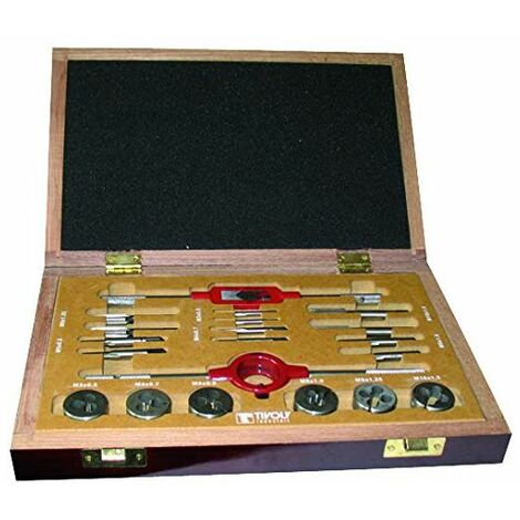 Tarauds HSS TIVOLY 6 jeux de 2 + 6 Filières HSS + 2 accessoires M3 à M10 Mallette 20 Pièces