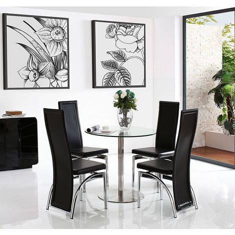 Target Dining Table with 4 Black Alisa Dining chairs
