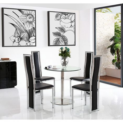 Target Dining Table with 4 Black Elsa Dining chairs