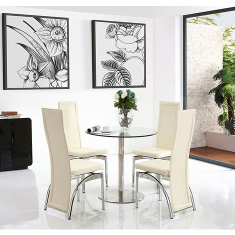 Target Dining Table with 4 Ivory Alisa Dining chairs