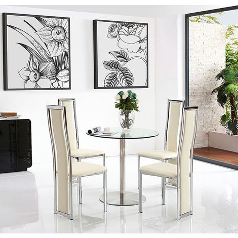 Target Dining Table with 4 Ivory Elsa Dining chairs