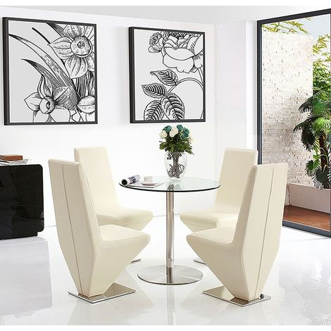 Target Dining Table with 4 Ivory Rita Dining chairs