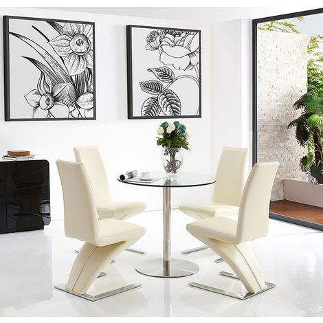 Target Dining Table with 4 Ivory Zed Dining chairs