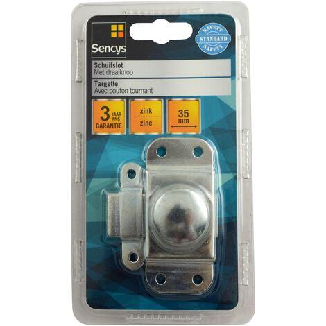 Targette avec bouton tournant Sencys - zinc 35 mm - 2 pcs