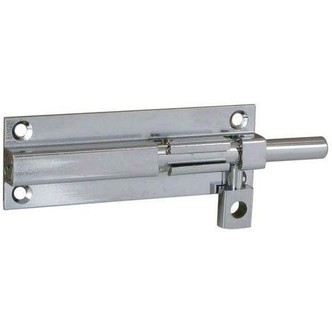 Targette laiton à ressort avec platine - Platine : 90 x 30 mm - Longueur : 120 mm - Décor : Chromé - Sens : Réversible - TCASYSTEM