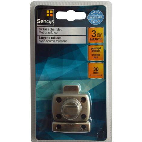 Targette robuste avec bouton tournant Sencys - Chromé 50 mm