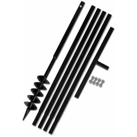 Tarière de sol avec manche 100 mm et tube d'extension 5 m Acier