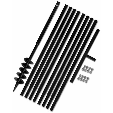 Tarière de sol avec manche 100 mm et tube d'extension 9 m Acier