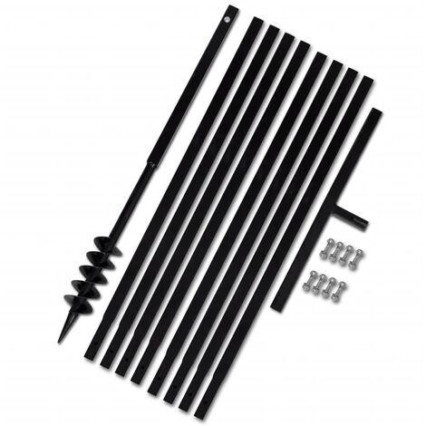 Tarière de sol avec manche 80 mm et tube d'extension 9 m Acier