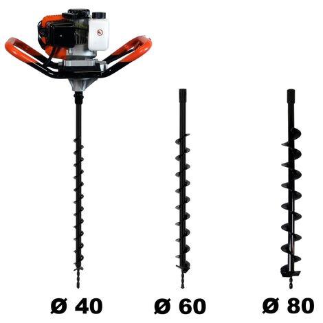 Tarière thermique 52 cm3, 3 CV + lot de 3 mèches (40, 60 et 80 mm)