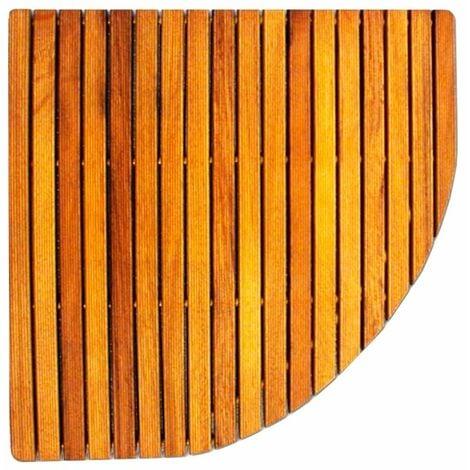 Tarima esquinera de madera antideslizante para ducha