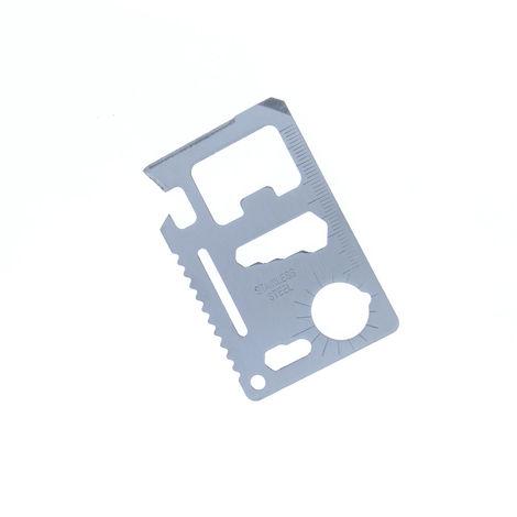 Tarjeta metálica multiusos Yatek, con 11 usos de resistente acero inoxidable 420