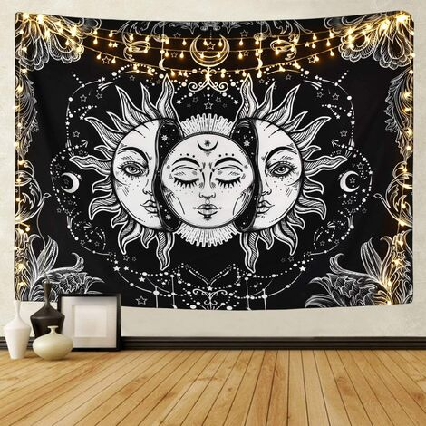 Tarot wall hanging - Sun and moon pattern - Psychedelic - Wall tapestry - Sand towel - Indian - Hippie - Home decor - Black and white - 130 x 150 cm