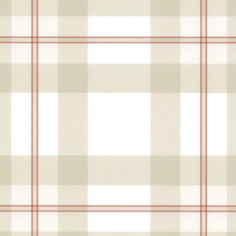 Image of Tartan Plaid Beige Wallpaper Ready Pasted Scrubbable Checked Vinyl Wallcovering