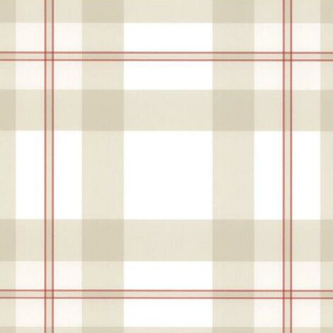 Tartan Plaid Beige Wallpaper Ready Pasted Scrubbable Checked Vinyl Wallcovering