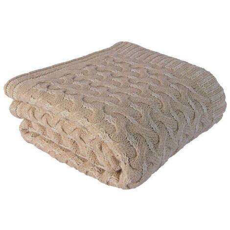 Tartan Softy 2 - Manta - para el sofa, la cama - Beige en Acrilico, 130 x 170 cm