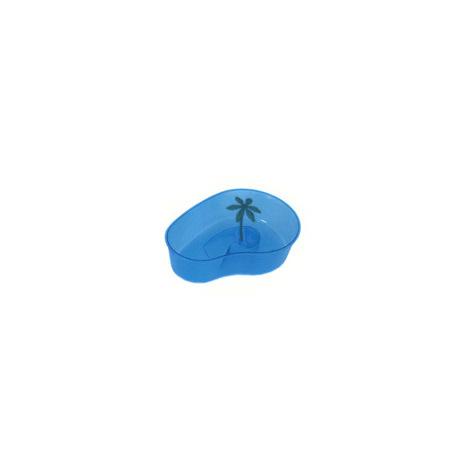 Tartarughiera Design a Virgola Completa di Isolotto + Palma Tropicale Sintetica Misure 30x23x10H cm