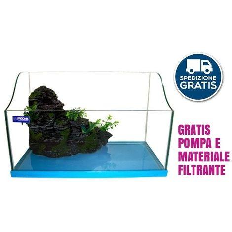 Tartarughiera in vetro isola pompa e materiale filtrante cm40