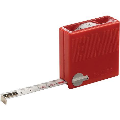Taschenrollbandmaß L.3m in/out B.13mm weiß m.Stopptaste BMI Genauigk.II
