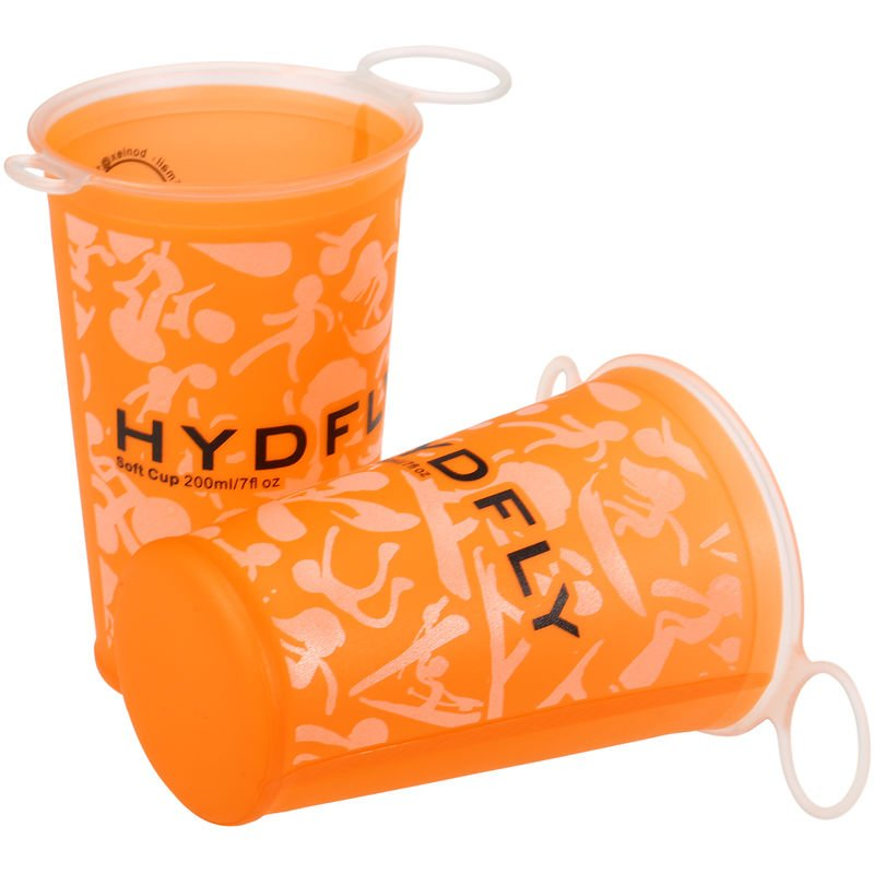 Hydfly - Tasse A Eau Douce Pliable De 200 Ml, Pour Les Sports De Plein Air, 2 Pcs, Orange