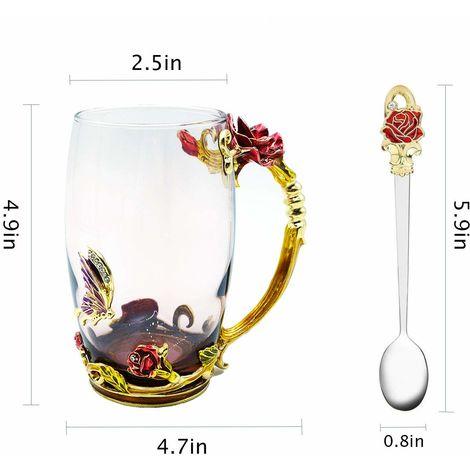 Tasse à thé en verre 2 pièces, papillon en émail fait main sans plomb et tasse à thé fleur rose bleue avec poignée, idées de cadeaux d'anniversaire personnalisées uniques pour les femmes grand-mère maman amie