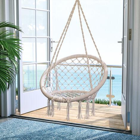 "main image of ""Tassel hanging chair - garden swing seat, hanging egg chair, garden swing chair - beige"""