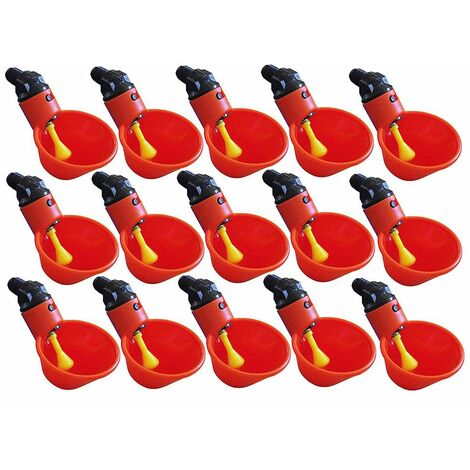 Tasses à boire de l'eau de volaille 15PC - Buveur automatique en plastique de poule de poulet rouge