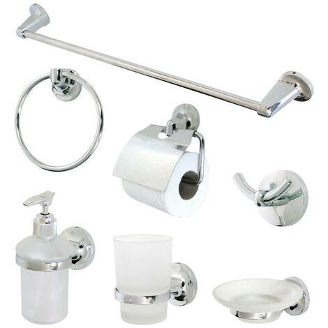 Accessore Per Bagno.Tata Linda Kit Accessori Da Bagno 7 Pz Metallo Cromato Vetro Satinato
