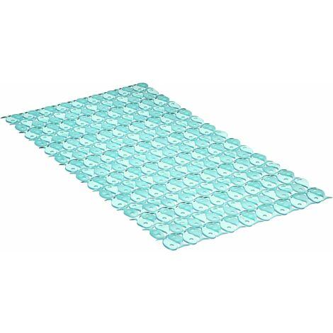 "main image of ""TATAY Alfombra de baño, antideslizante, flexible, color azul, de medidas 70 x 36 cm."""