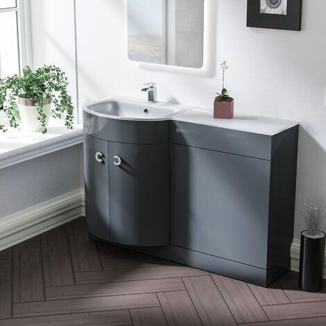 Tate 1100mm LH Grey Bathroom Basin Combination Vanity Unit