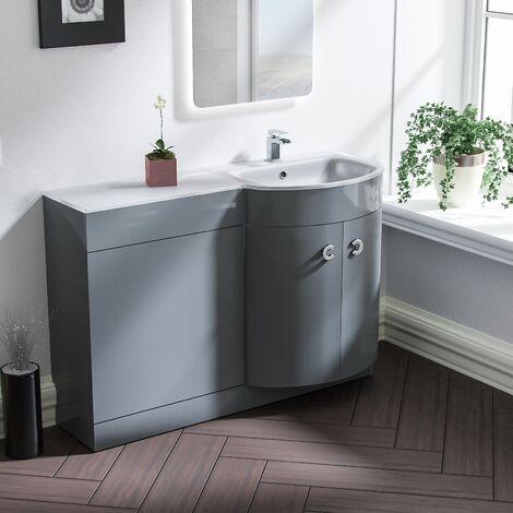 Tate 1100mm RH Light Grey Bathroom Basin Combination Vanity Unit