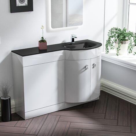Tate Bathroom D Shape Black Glass Basin Vanity Wc Unit Cabinet 1100 Right Hand