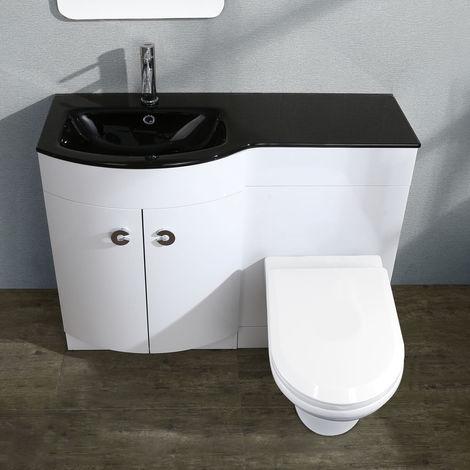 TATE Left Hand White Gloss Bathroom Black Basin Vanity Unit WC Toilet Cabinet Suite - 1100mm
