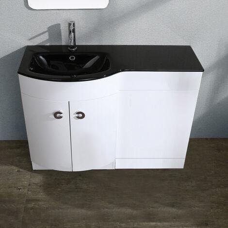 "main image of ""Tate LH 1100mm Vanity Black Basin Unit White"""