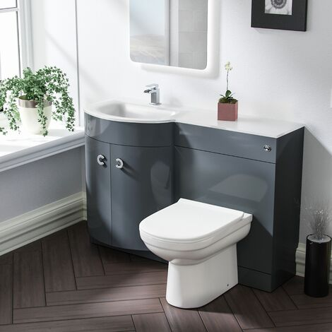 Tate LH Grey Vanity Sink and Debra BTW Toilet Combo Unit