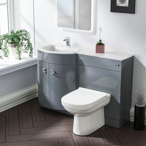 Tate LH Light Grey Vanity Sink and Debra BTW Toilet Combo Unit