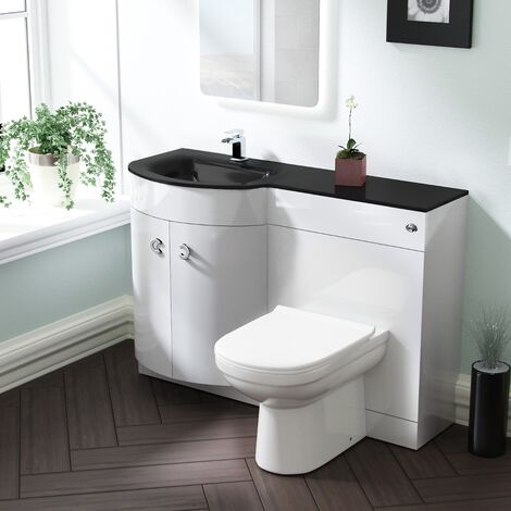 Tate LH White Vanity Sink and Debra BTW Toilet Combo with Black Basin Unit