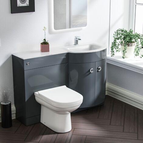 Tate RH Grey Vanity Sink and Debra BTW Toilet Combo Unit